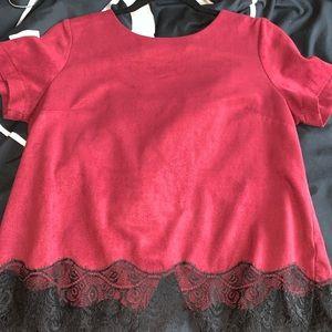 Burgundy velvet blouse